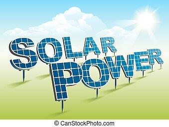 Solar power. Solar panels on green field. Illustration in...