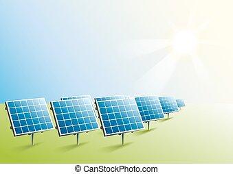 Solar power. Solar panels in field. Illustration in vector...