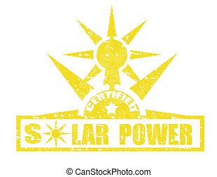 Solar Power-stamp - Grunge rubber stamp with text Solar...