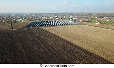 Solar power station. Aerial survey - Power plant on solar...