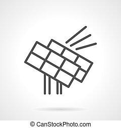 Solar power station black line design vector icon