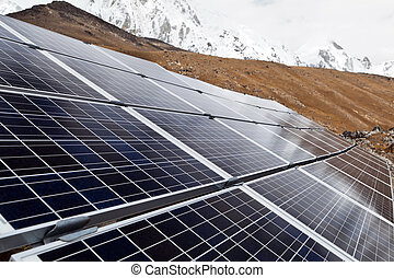 Solar Power Station in Himalaya Mountains, Nepal