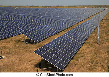 Solar Power Station In Steppe - Hugh array of solar pv...