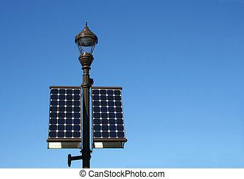 Solar Power  - A street lamp powered by solar energy panels