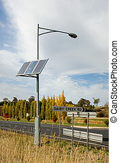 Solar Power - A bank of solar panels providing power for a...