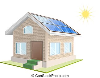 Solar power. Vacation home. Solar panels on roof. Isolated...