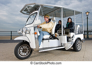Solar powered cart at the beach