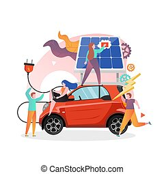 Solar powered electric car charging station, vector illustration