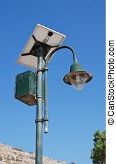 Solar powered light, Greece - A solar powered street light...