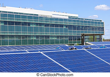 Solar Powered Office - Ground level solar panel array in ...