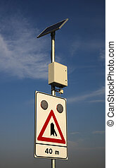 Solar powered road sign