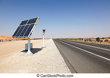 Solar powered speed control camera on the highway in Abu...