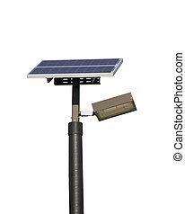 Solar powered street light on white