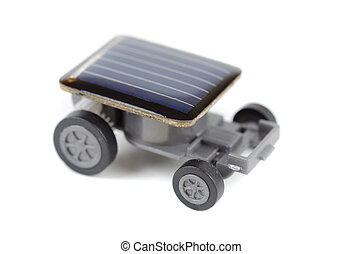 Solar powered toy car on a white background. for concept.