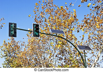 Solar powered traffic lights in a sunny day