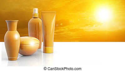 solar protection - set of sun lotions in a sunny sky