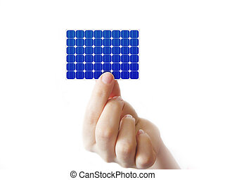 Solar cell in a hand on white
