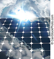 solar - Solar energy over cloudy blue sky with background...