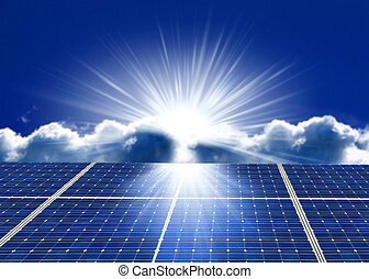 solar - Solar panel against blue sky