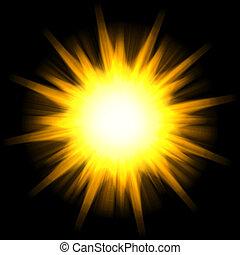 Solar Star Burst - A star burst or lens flare over a black...