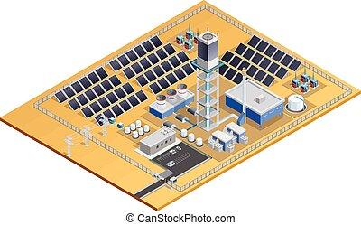 Solar Station Model Isometric Image - Model of solar station...