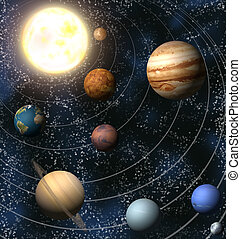An illustration of our solar system. Maps from