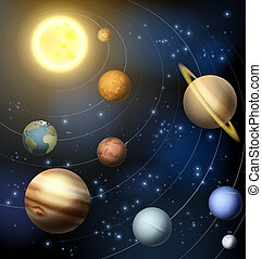 Solar System - An illustration of the planets orbiting the...