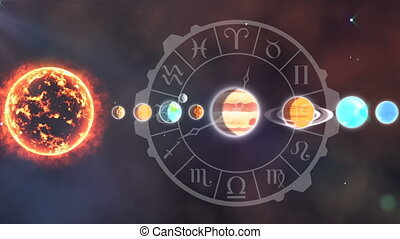 Solar system and the zodiac - Digitally generated animation ...