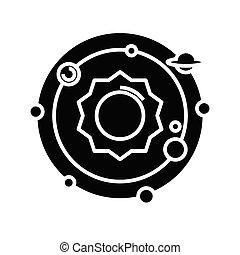 Solar system black icon, concept illustration, vector flat symbol, glyph sign.