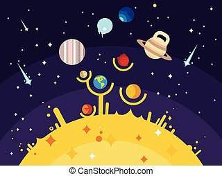 Solar system flat style. Venus mars saturn jupiter uranus...