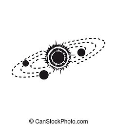 Solar system icon in  black style isolated on white background. Space symbol stock vector illustration.