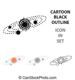 Solar system icon in cartoon style isolated on white background. Space symbol stock vector illustration.