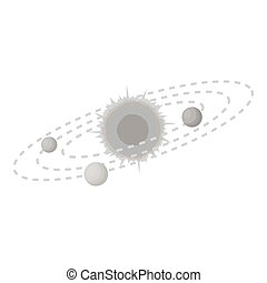 Solar system icon in monochrome style isolated on white background. Space symbol stock vector illustration.