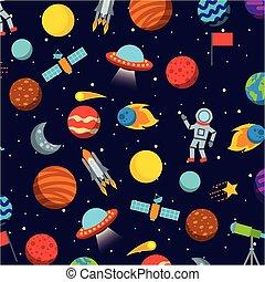 solar system icons set flat