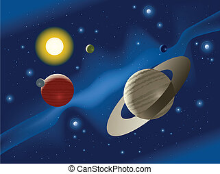 Solar System - Illustration of planets in a distant solar ...
