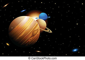 Solar System - illustration of solar system with planets...