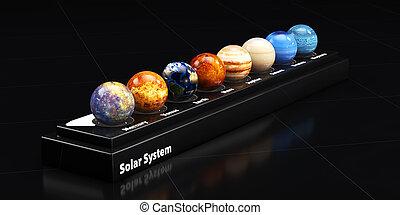 solar, system., ilustração, planetas, nosso, 3d