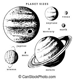 Solar system infographics in vector. Hand drawn illustration...