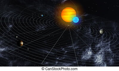 A map of an alien solar system in deep space.