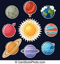 Solar system or planets sticker set.
