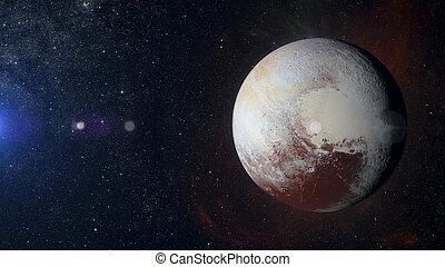 Solar system planet Pluto on nebula background.