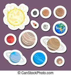 Solar system planet stickers