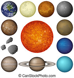 Solar System planets and moon, set - Space set of isolated...