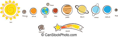 Solar System Planets - Vector Illustration of the solar...