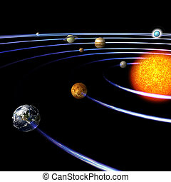 Solar System - schematical image of the solar system. With...
