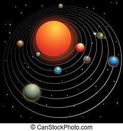 Solar system image isolated on a black background.