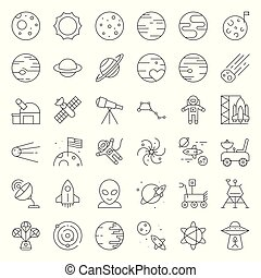 Solar system, Space and astronaut, thin line icons