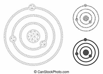 Solar System Vector Mesh Wire Frame Model and Triangle Mosaic Icon