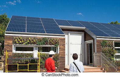 solar, trabajo de construcción, casa, hombres, sombrero...