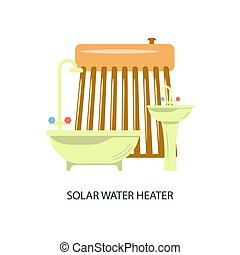 Solar water heater. - Modern eco technologies in the city....